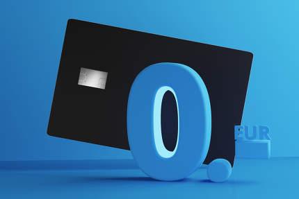 credit card 0 euro 3d-illustration
