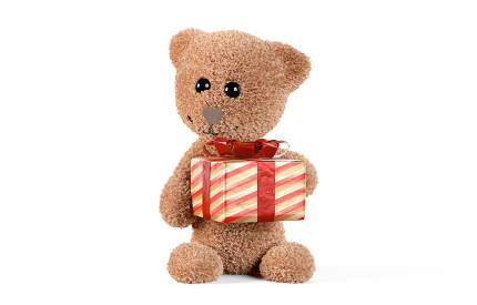 cute fluffy teddy bear with present 3d-illustration