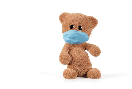 cute teddy covered mouth. concept of face mask 3d-illustration