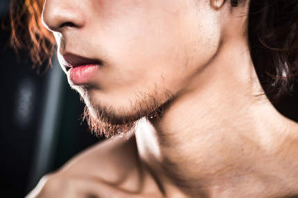 detail collarbone of a man with muscle