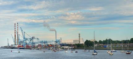 Dublin, Ireland - July 30, 2020 Poolbeg Power Station In The Har