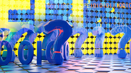 EU Europe creative digital concept and question marks design background 3d-illustration