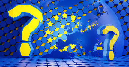 Europe and question mark. color design of the flag of Europe. hexagonal grid design background. 3d-illustration. elements of this image furnished by NASA