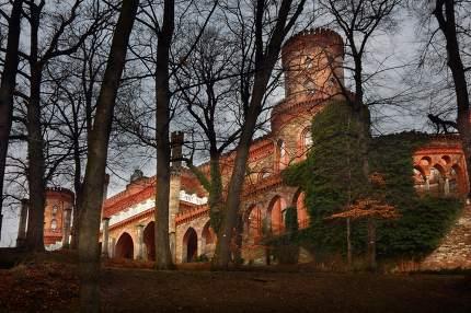 Evening view at chateau Kamieniec Zabkowicki, Poland