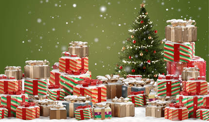 festive design of christmas presents background 3d-illustration