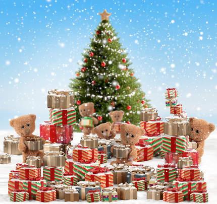 festive teddy bear design of christmas presents background 3d-illustration