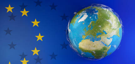 flag of Europe and world globe. elements of this image furnished by NASA 3d-illustration
