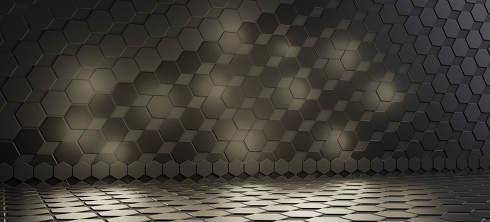 hexagonal dark modern design background. 3d-illustration