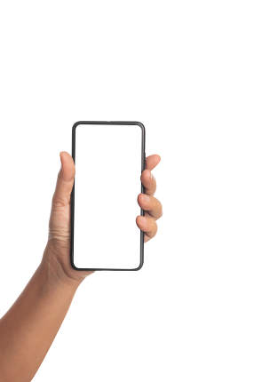 Human hand holding a black smartphone isolated on a white backgr