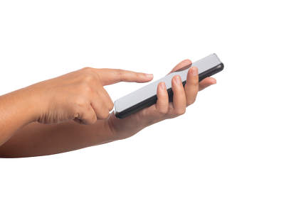 Human hand touching screen on black smartphone isolated