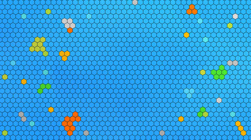 light blue grid design. hexagonal different colors in the struct