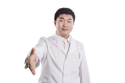 friendly male doctor with open hand ready for hugging isolated on white