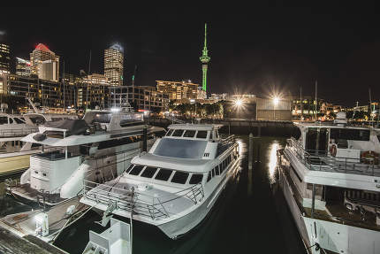 Auckland City and Skytower at Night, Skycity, Auckland, New Zealand