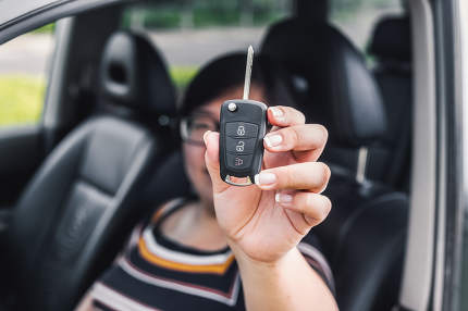 Car key in woman's hand nice shot