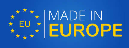 made in Europe blue and yellow symbol 3d-illustration