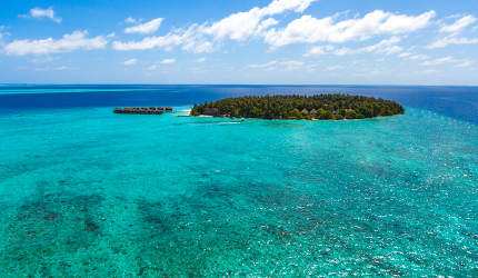 Maldives, an island in the ocean, view from the seaside