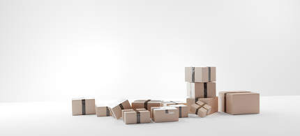 parcel packages 3d-illustration brown typical package design