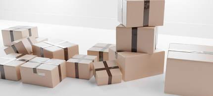 parcel packages. postal 3d-illustration background
