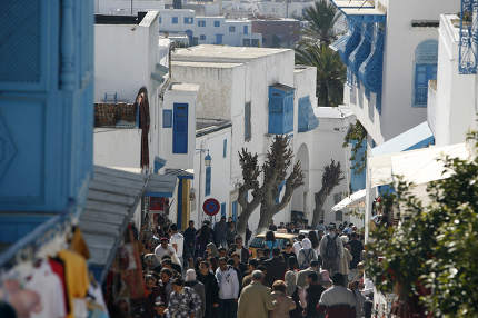 People in the Marketstreet in the Old Town of Sidi Bou Said near the City of Tunis in north of Tunisia,Tunisia, Sidi Bou Sair, March, 2009