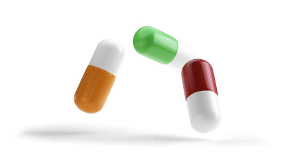 pills isolated red orange and green 3d-illustration