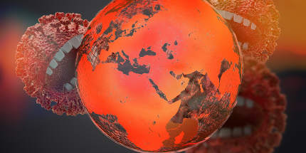 planet earth and virus, symbolic virus monster with teeth 3d-illustration