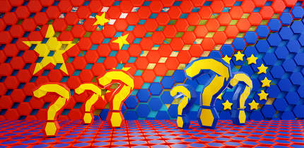 question marks and Europe and China red hexagons grid background 3d-illustration
