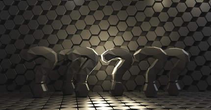question marks dark black design 3d-illustration