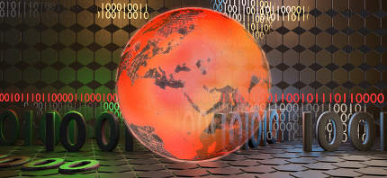 red earth and digital background binary code 3d-illustration. elements of this image furnished by NASA