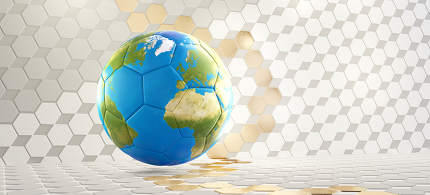 soccer ball with color of the world map and hexagonal golden white background. 3d-illustration. elements of this image furnished by NASA