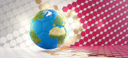 soccer ball with color of the world map. Hexagonal design colored as the flag of Qatar. 3d-illustration. elements of this image furnished by NASA