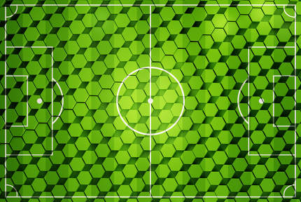 soccer field hexagonal creative grid structure background 3d-illustration