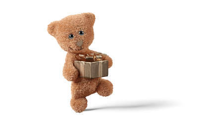 sweet and cute. teddy bear 3d-illustration with golden gift. luxury gift