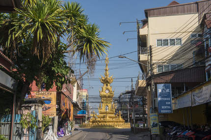 the clock tower in the city of Chiang Rai in North Thailand.  Thailand, Chiang Rai, November, 2019
