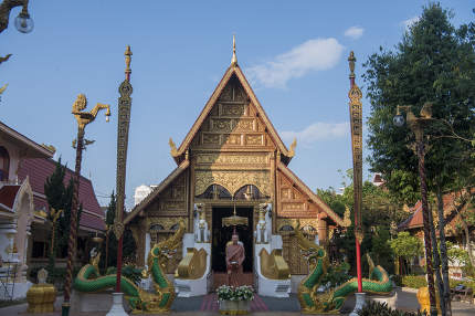 the Wat Phra Singh Temple in the city of Chiang Rai in North Thailand.  Thailand, Chiang Rai, November, 2019