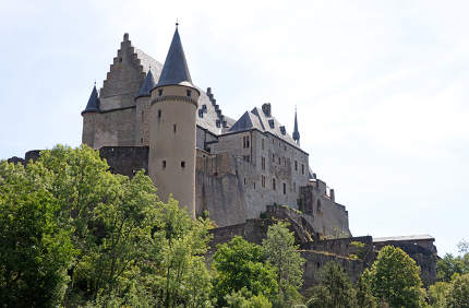 Vianden, Luxembourg on july 21, 2020: The old and restored Vianden castle