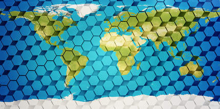 world map hexagonal creative design background 3d-illustration. elements of this image furnished by NASA