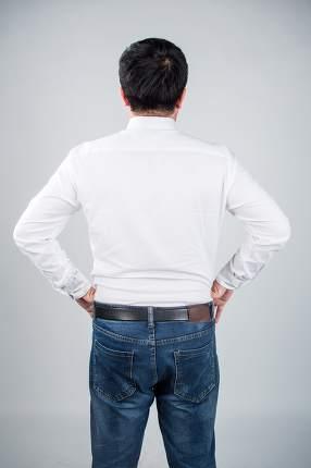 Young man wearing white t-shirt. Back.