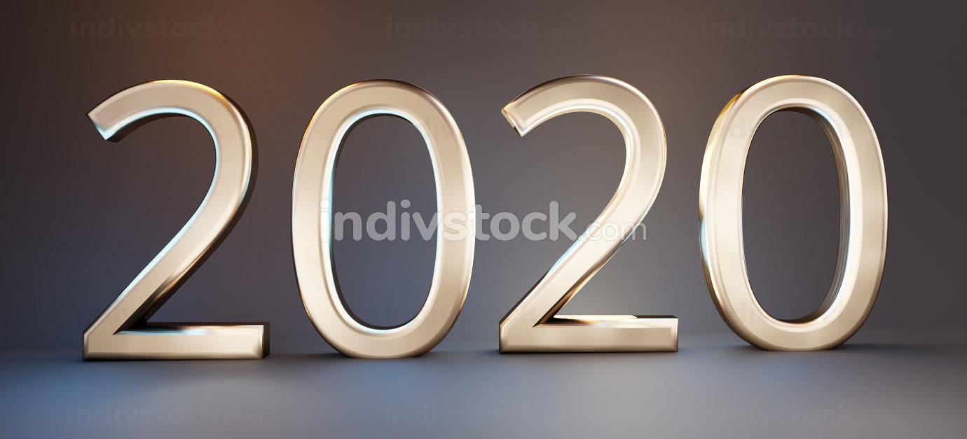 2020 bold letters golden design 3d-illustration