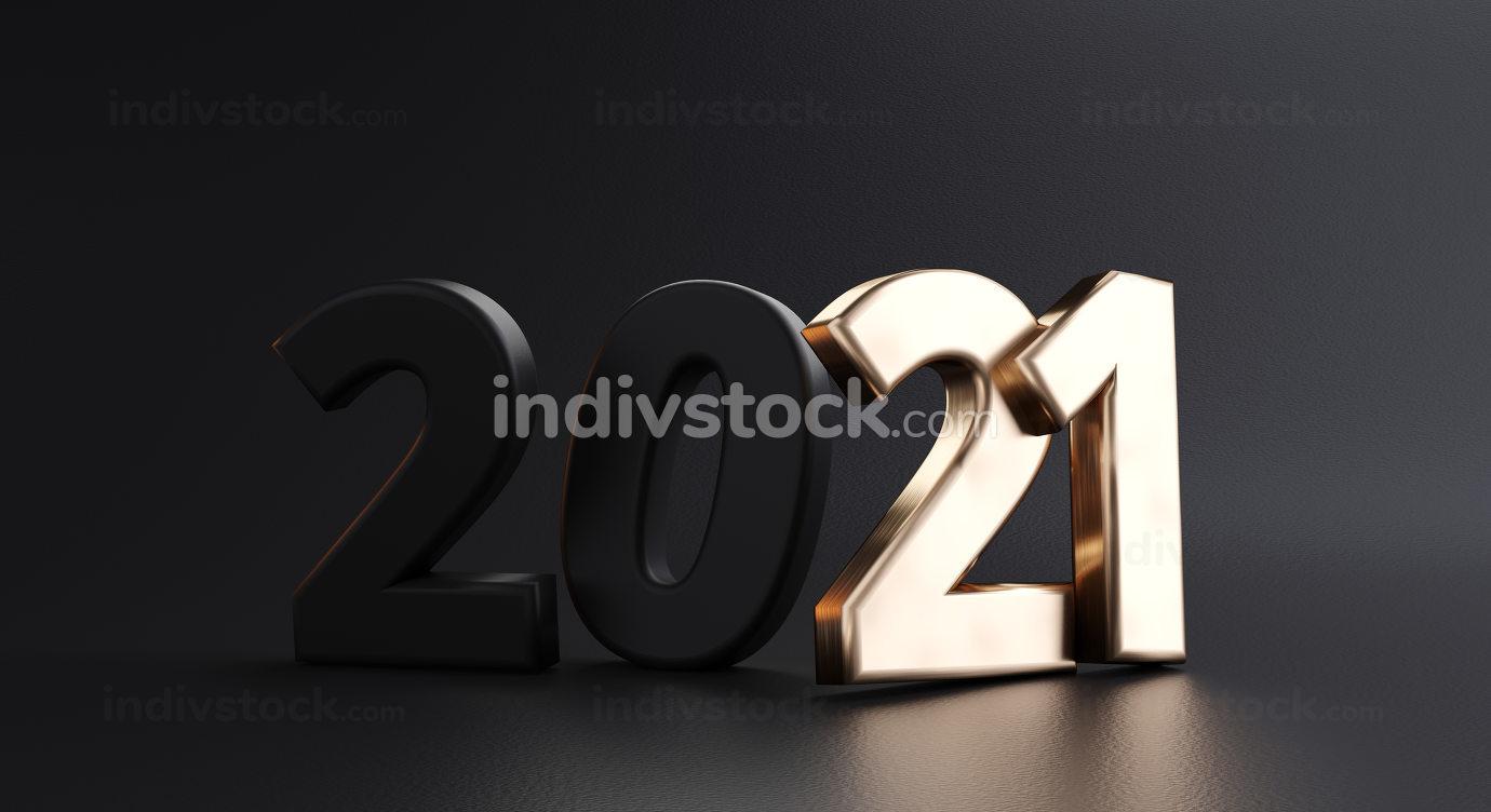 2021 bold letters black golden 3d-illustration symbol