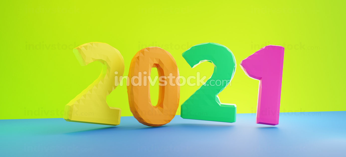 2021 bold letters colorful 3d-illustration