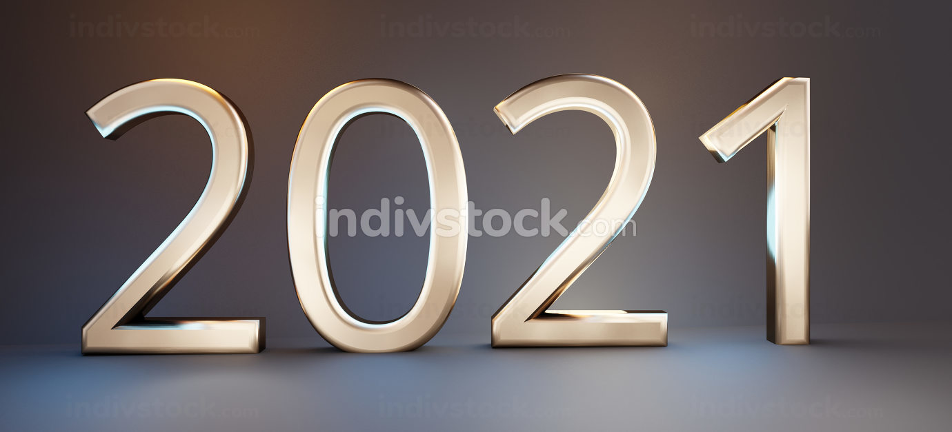 2021 bold letters golden design 3d-illustration