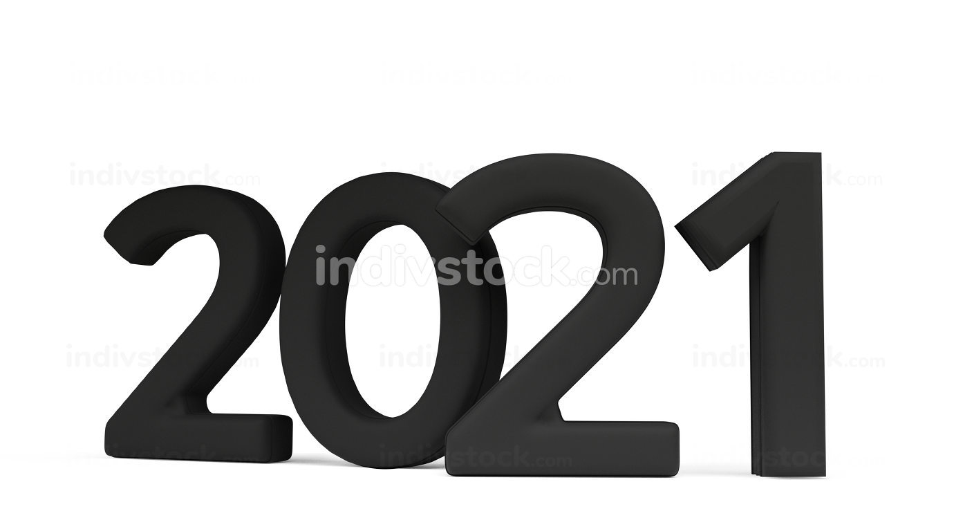 2021 bold letters symbol isolated on white 3d-illustration