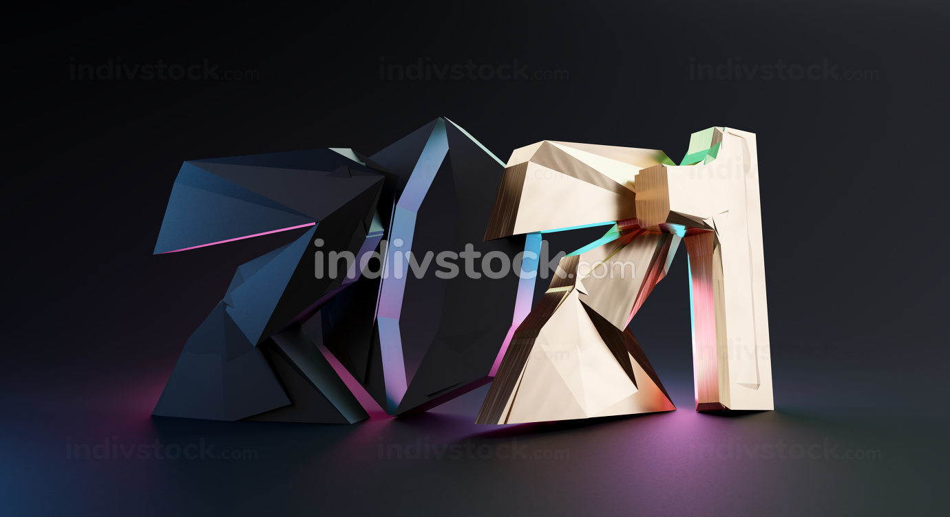 2021 bold letters trend modern design 3d-illustration