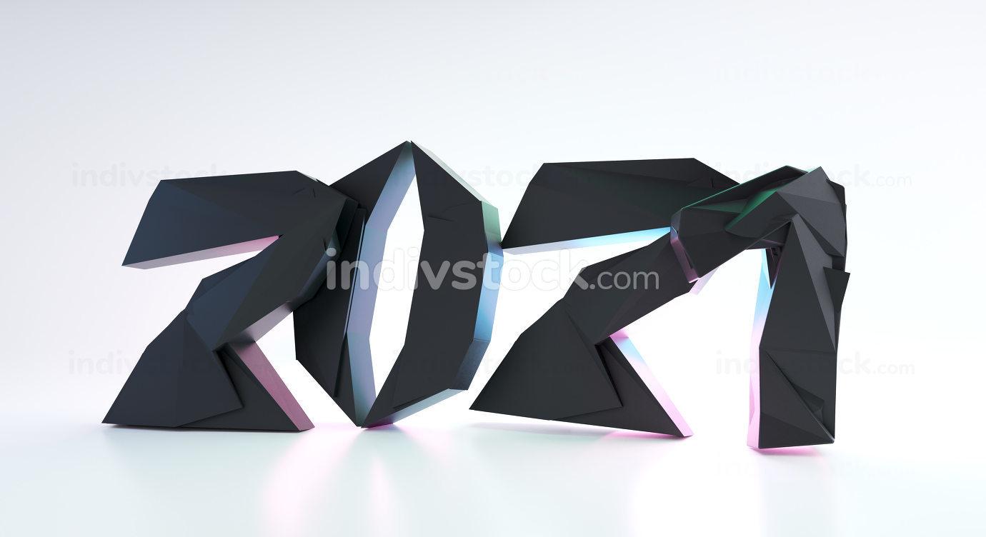 2021 bold letters trend modern design 3d-illustration