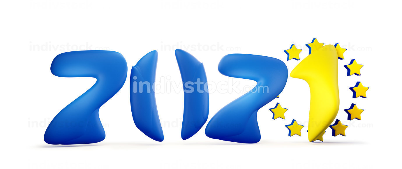 2021 color design of the flag of Europe. 3d-illustration