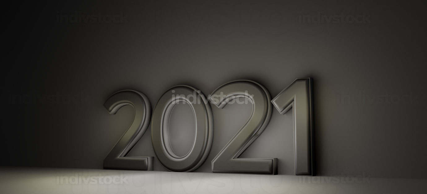 2021 dark modern design. bold letters 3d-illustration