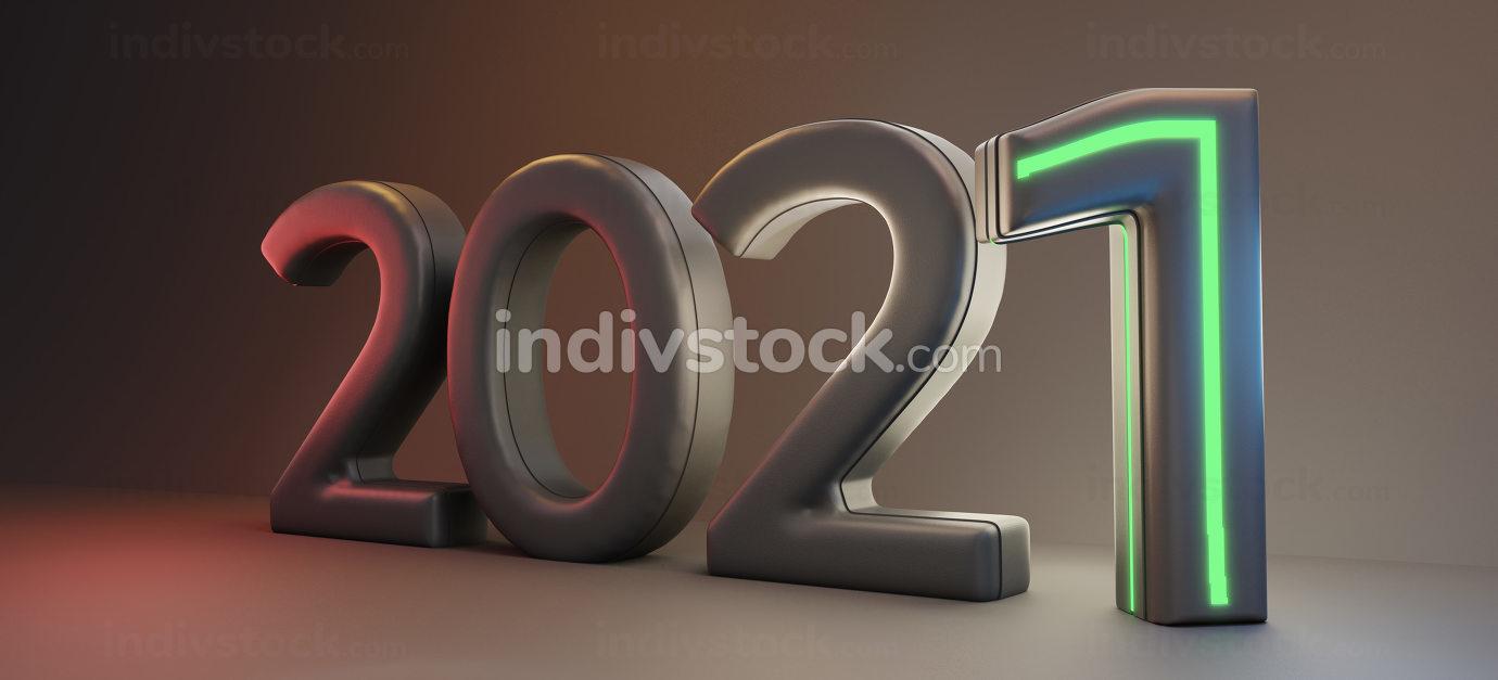 2021 dark modern symbolic year 3d-illustration
