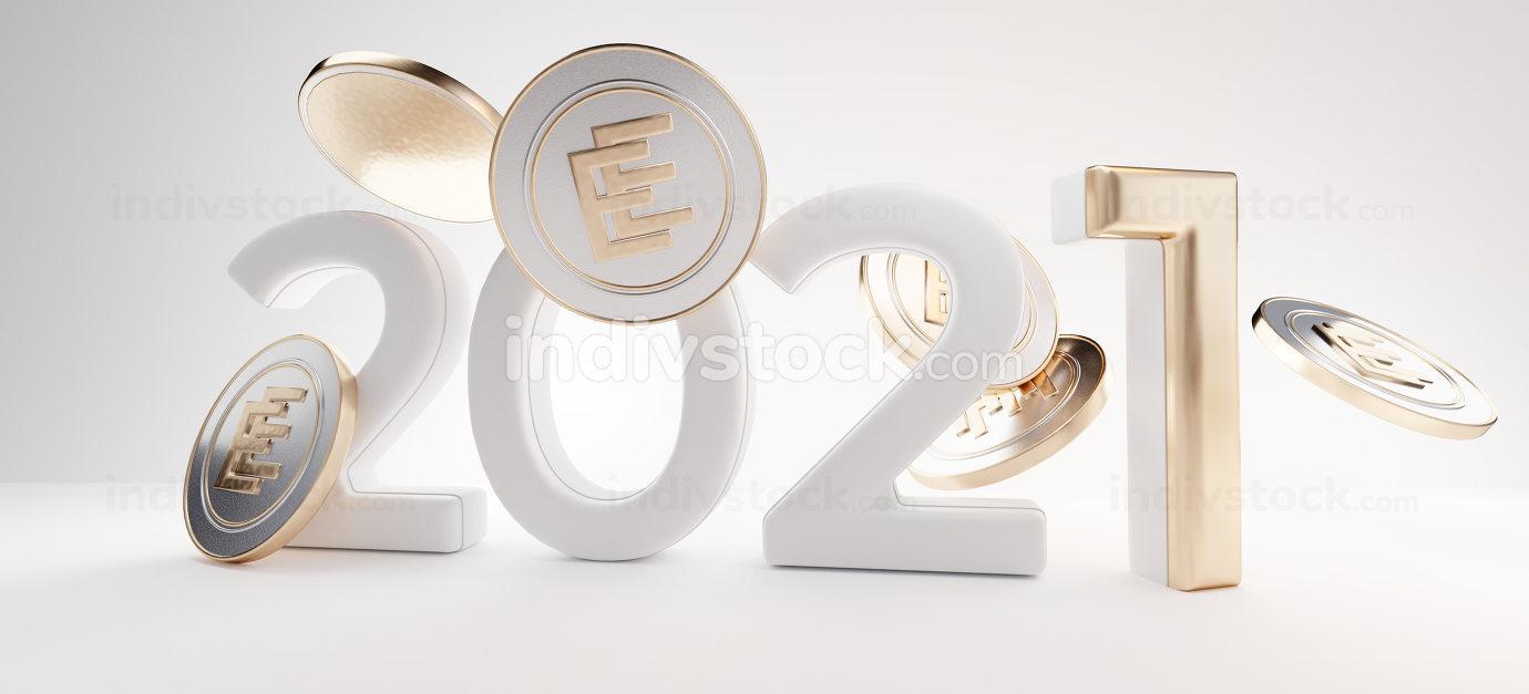 2021 e-euro digital concept and binary code background 3d-illust