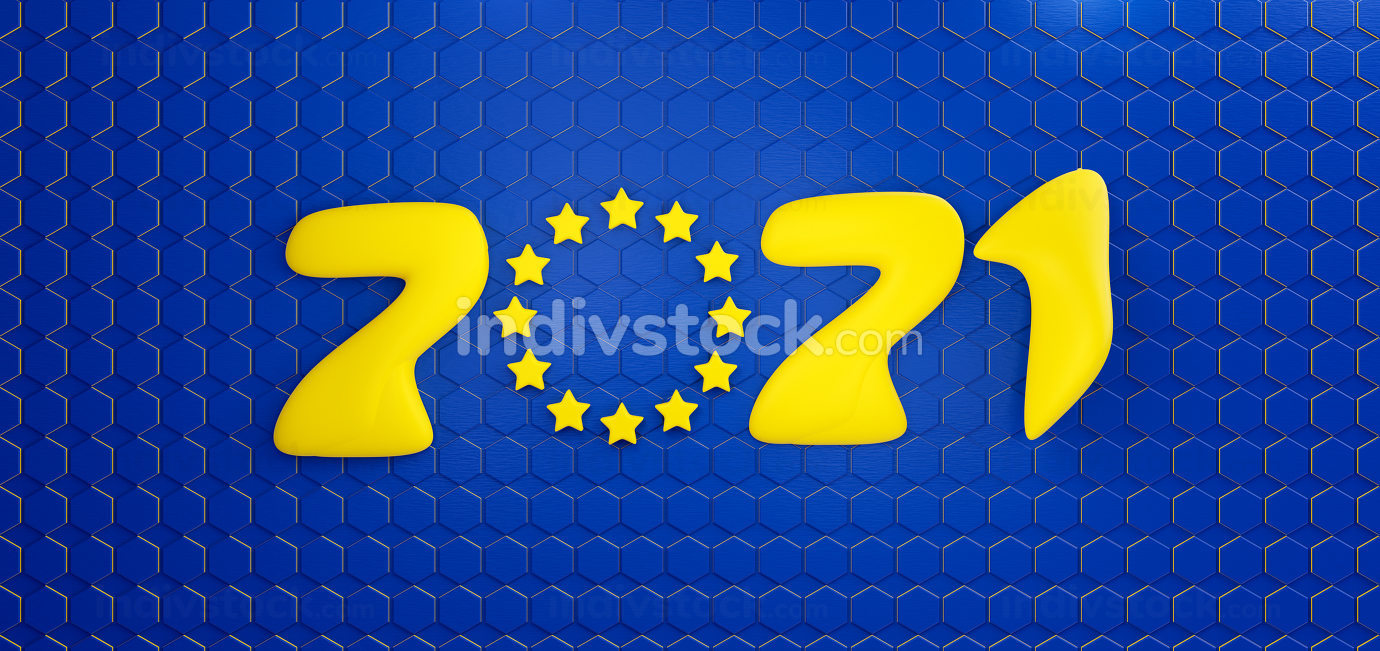 2021 Europe hexagonal design. EU background blue yellow 3d-illustration