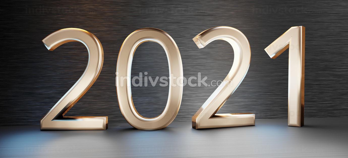 2021 golden bold letters dark background 3d-illustration